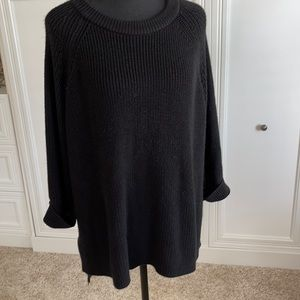 Mote High Low Black Sweater Rolled Sleeve XL